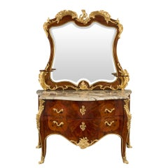 French 19th Century Louis XV Style Chest and Mirror, Attribute to Krieger