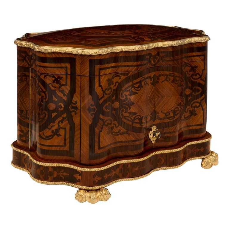 French 19th Century Louis XV St. Kingwood, Tulipwood and Ormolu Cave a Liqueur In Excellent Condition For Sale In West Palm Beach, FL