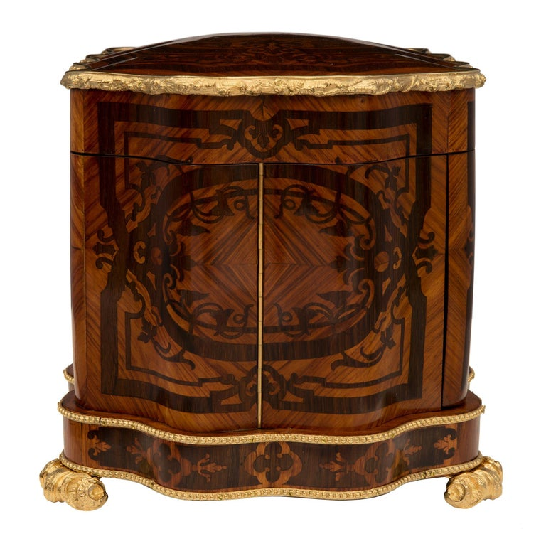 French 19th Century Louis XV St. Kingwood, Tulipwood and Ormolu Cave a Liqueur For Sale 1