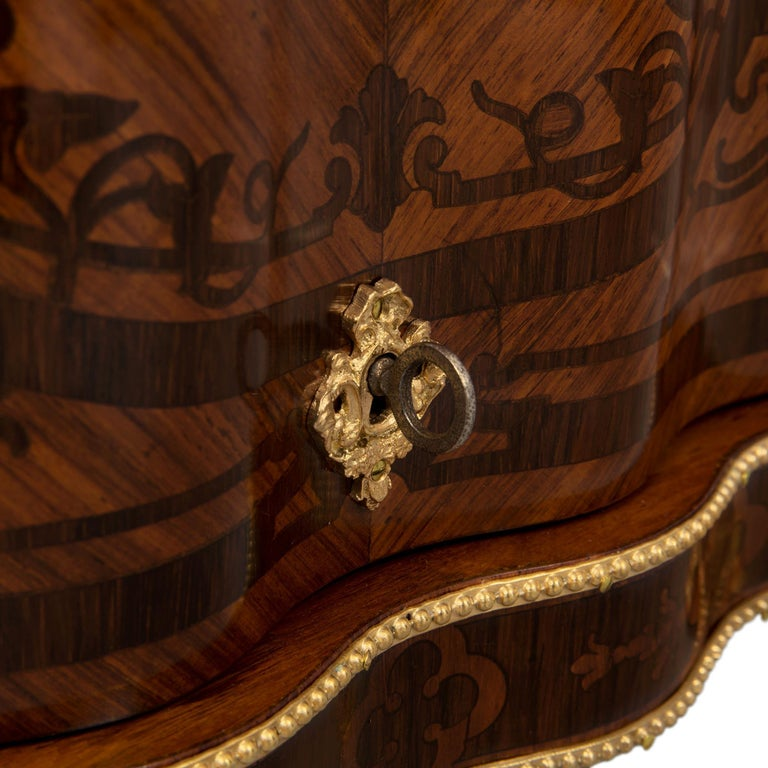 French 19th Century Louis XV St. Kingwood, Tulipwood and Ormolu Cave a Liqueur For Sale 2