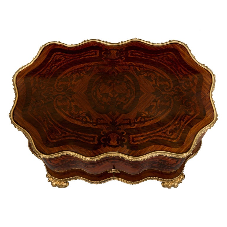 French 19th Century Louis XV St. Kingwood, Tulipwood and Ormolu Cave a Liqueur For Sale 4