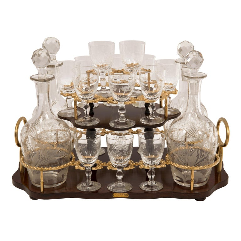 French 19th Century Louis XV St. Kingwood, Tulipwood and Ormolu Cave a Liqueur For Sale 6