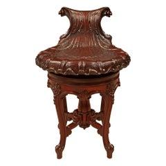 French 19th Century Louis XV Style Mahogany Adjustable Desk / Vanity Chair