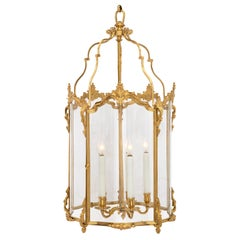 French 19th Century Louis XV Style Ormolu and Hand Blown Glass Lantern
