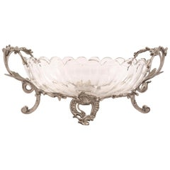 French 19th Century Louis XV Style Silvered Bronze and Baccarat Centerpiece