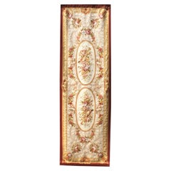 French 19th Century Louis XV Style Aubusson Tapestry Panel with Rose Bouquets