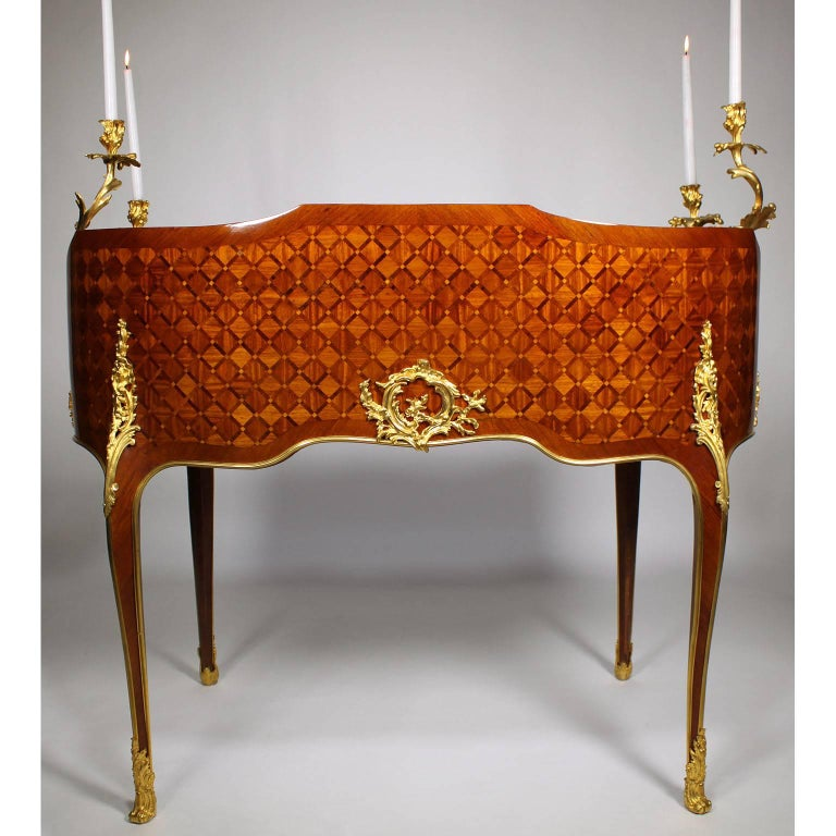 19th Century Louis XV Style Gilt-Bronze Mounted Secretary, Attributed to Millet For Sale 3