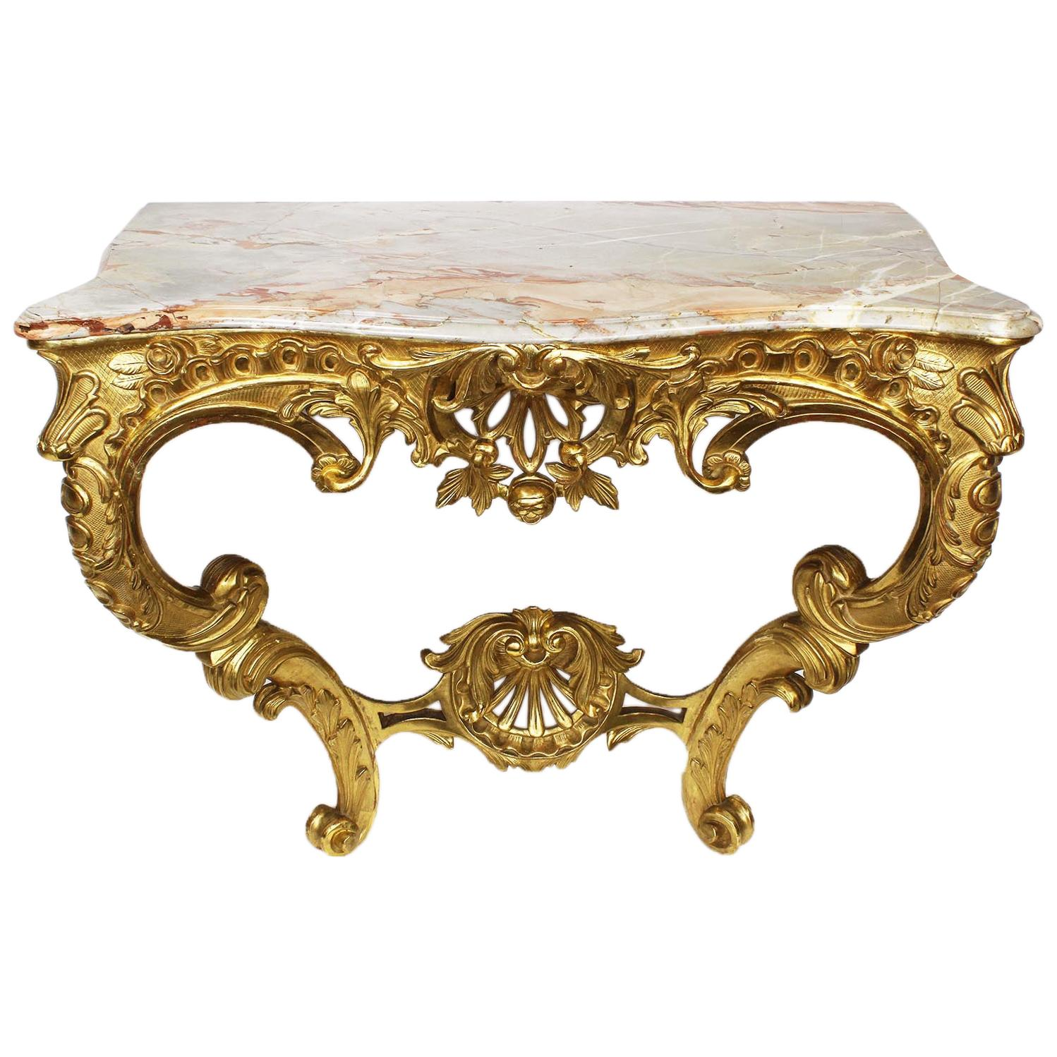 French 19th Century Louis XV Style Giltwood Carved Wall Mounting Console Table