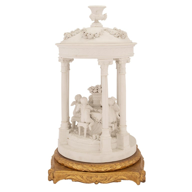 French 19th Century Louis XVI Style Biscuit De Sèvres and Giltwood Centerpiece In Excellent Condition For Sale In West Palm Beach, FL