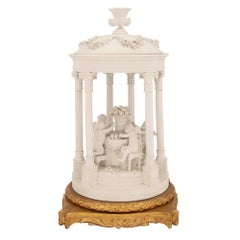 French 19th Century Louis XVI Style Biscuit De Sèvres and Giltwood Centerpiece