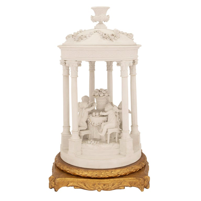 French 19th Century Louis XVI Style Biscuit De Sèvres and Giltwood Centerpiece For Sale