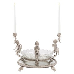 French 19th Century Louis XVI St. Bronze and Baccarat Crystal Centerpiece