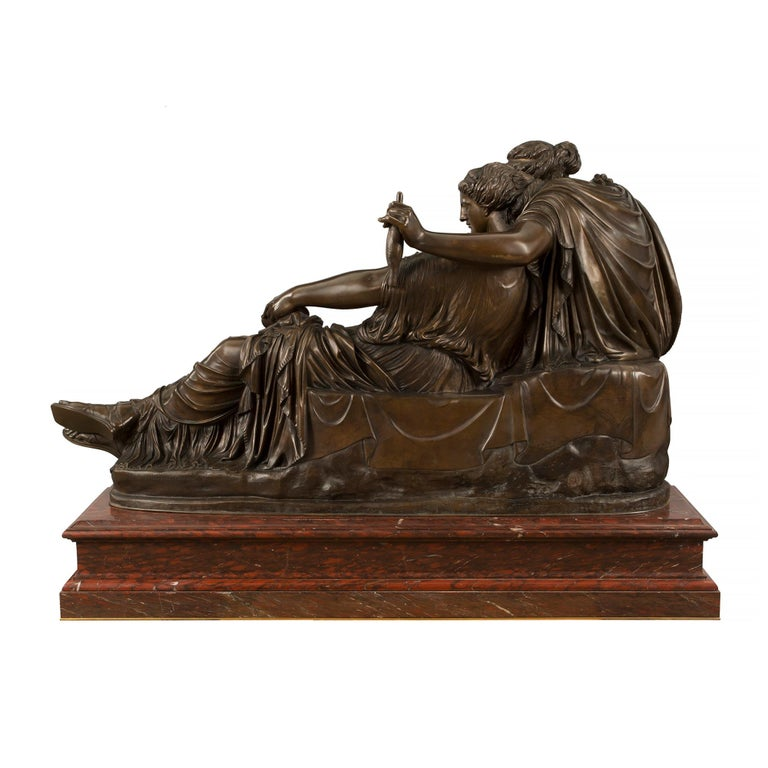 French 19th Century Louis XVI Style Bronze and Marble Statue of the Two Fates For Sale 1