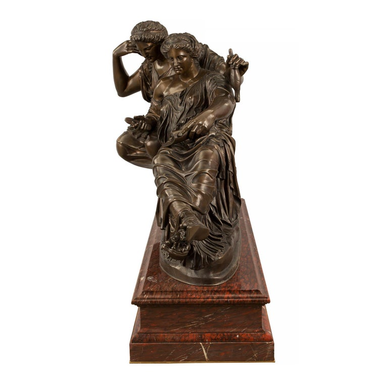 French 19th Century Louis XVI Style Bronze and Marble Statue of the Two Fates For Sale 2