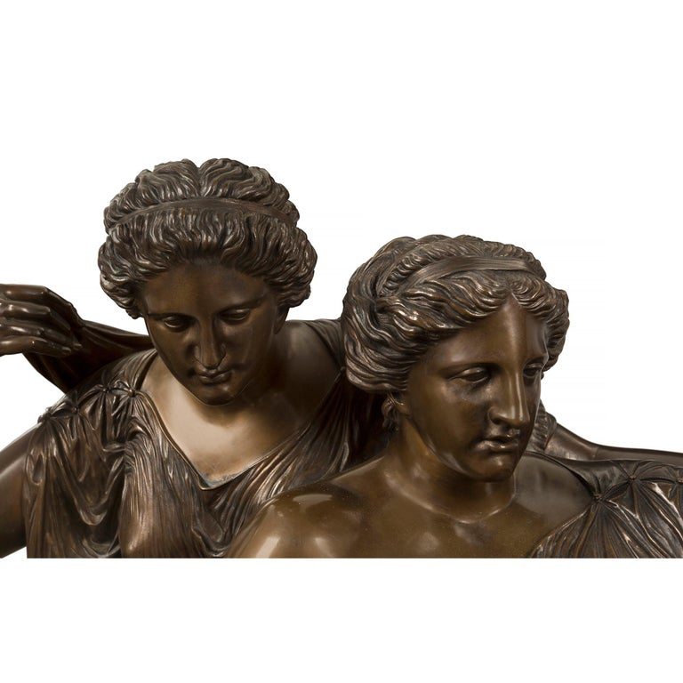French 19th Century Louis XVI Style Bronze and Marble Statue of the Two Fates For Sale 3