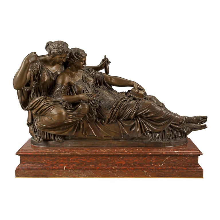 French 19th Century Louis XVI Style Bronze and Marble Statue of the Two Fates For Sale