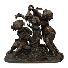 French 19th Century Louis XVI St. Bronze Statue of Two Cherubs, Signed Clodion