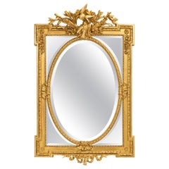 French 19th Century Louis XVI St. Double Frame Giltwood Mirror