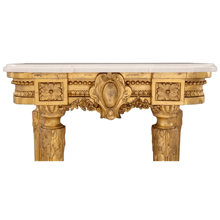 French 19th Century Louis XVI Style Giltwood and Carrara Marble Console For Sale 2