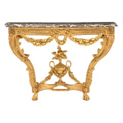 French 19th Century Louis XVI Style Giltwood and Marble Wall Mounted Console