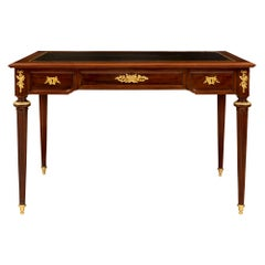 French 19th Century Louis XVI St. Mahogany and Ormolu Desk