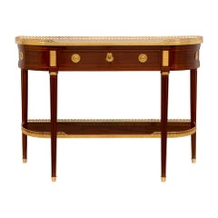 French 19th Century Louis XVI St. Mahogany, Ormolu and Marble Dessert Console