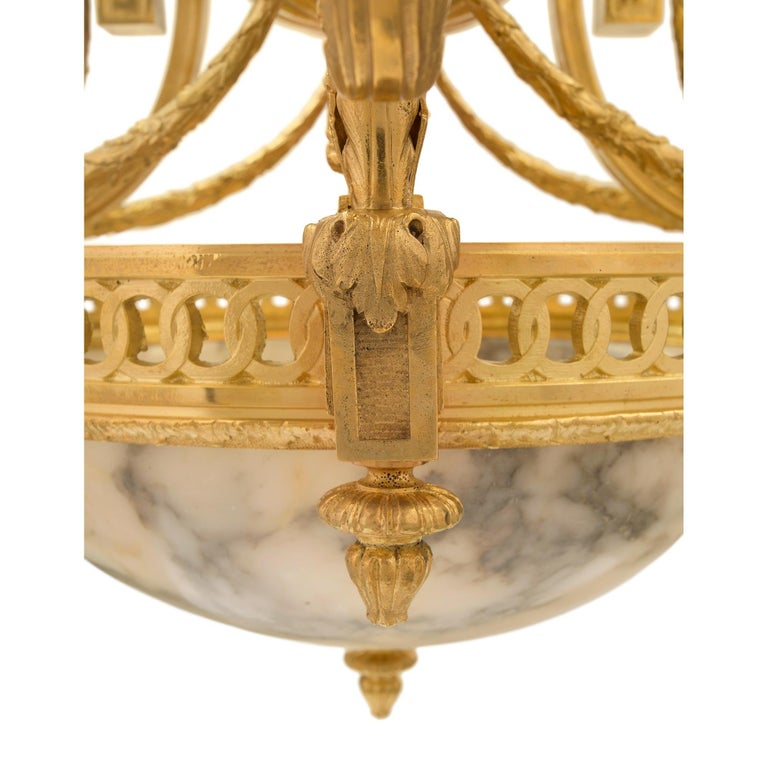 French 19th Century Louis XVI Style Ormolu and Alabaster Chandelier For Sale 4