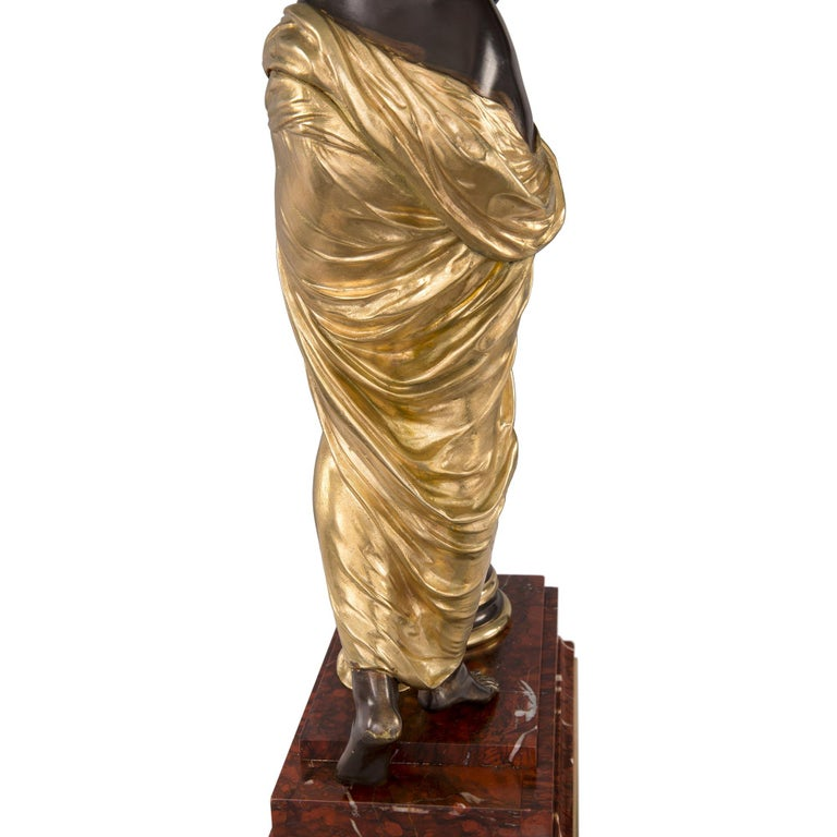 French 19th Century Louis XVI St. Ormolu and Bronze Statue For Sale 7