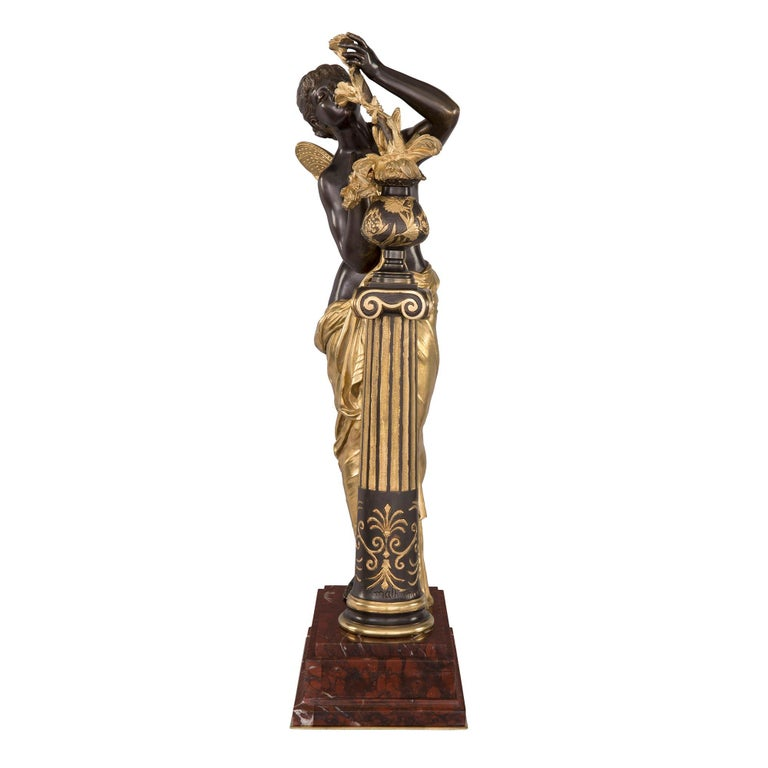 French 19th Century Louis XVI St. Ormolu and Bronze Statue For Sale 2