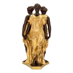 French 19th Century Louis XVI Style Ormolu and Bronze Statue of the Three Graces