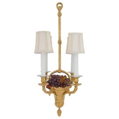 French 19th Century Louis XVI Style Ormolu and Colored Glass Chandelier