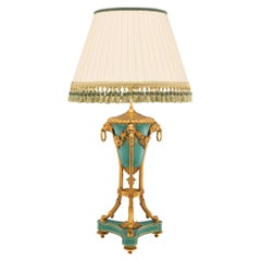 French 19th Century Louis XVI Style Ormolu and Porcelain Lamp, Signed by Sèvres