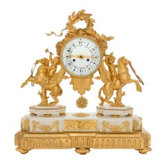 French 19th Century Louis XVI Style Ormolu, Carrara Marble and Giltwood Clock