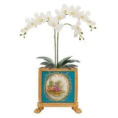 French 19th Century Louis XVI Style Sèvres Porcelain and Ormolu Planter