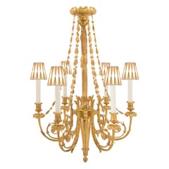 French 19th Century Louis XVI Style Six-Arm Ormolu Chandelier