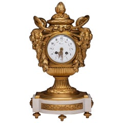 French 19th Century Louis XVI Style Clock Signed Lerron