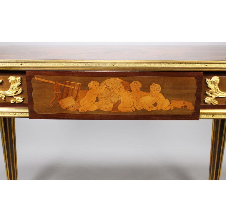 French Louis XVI Style Ormolu and Marquetry Table, Beurdeley Attributed For Sale 5