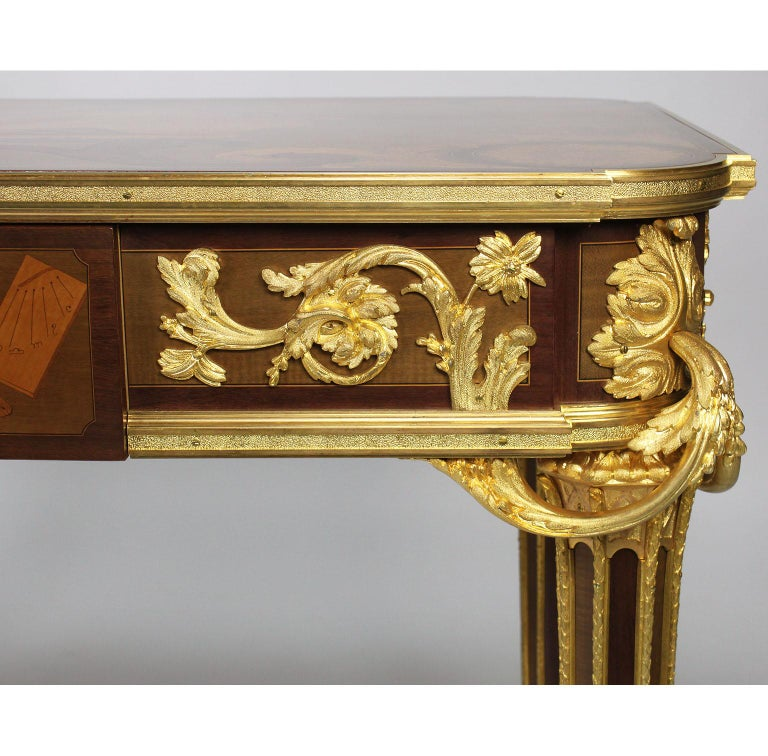 French Louis XVI Style Ormolu and Marquetry Table, Beurdeley Attributed For Sale 7