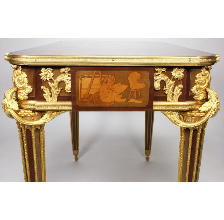 French Louis XVI Style Ormolu and Marquetry Table, Beurdeley Attributed For Sale 10