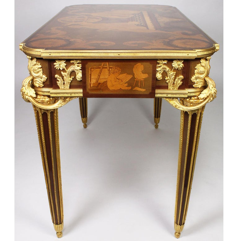 French Louis XVI Style Ormolu and Marquetry Table, Beurdeley Attributed For Sale 11