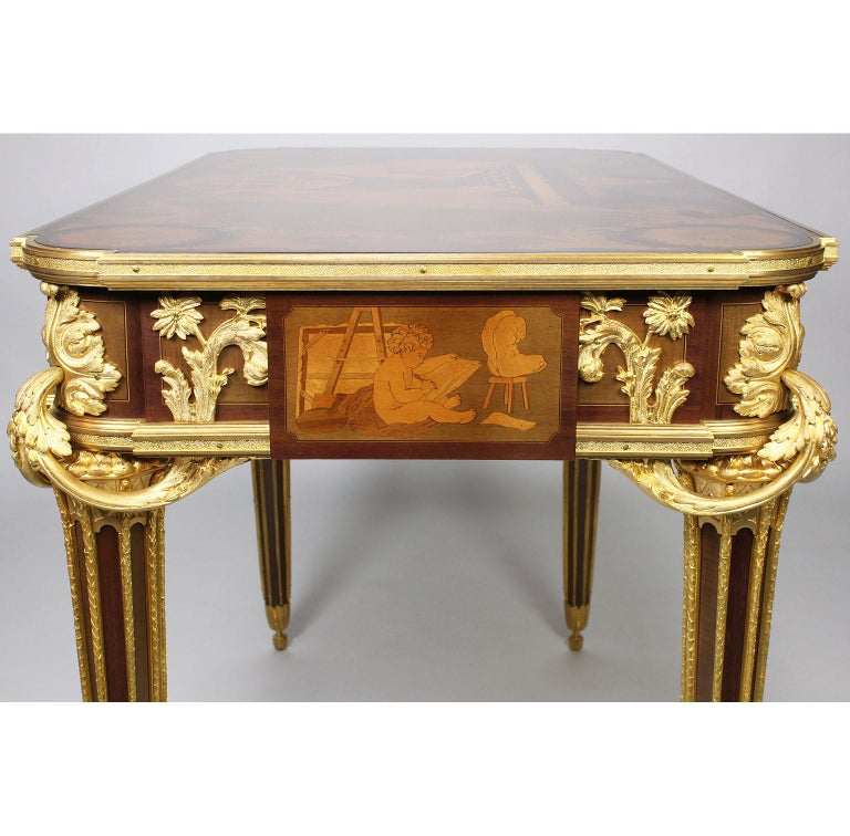 French Louis XVI Style Ormolu and Marquetry Table, Beurdeley Attributed For Sale 12