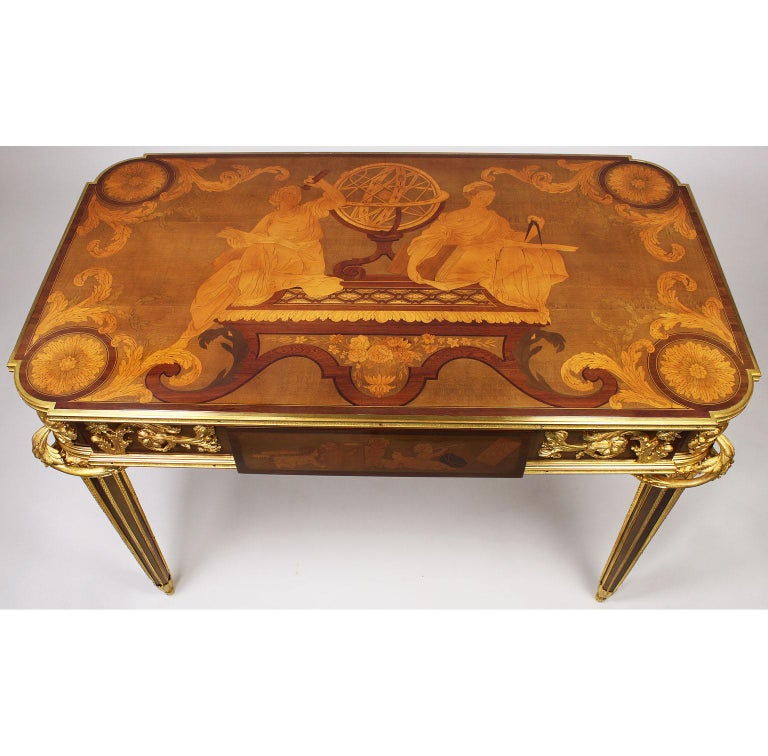 French Louis XVI Style Ormolu and Marquetry Table, Beurdeley Attributed In Good Condition For Sale In Los Angeles, CA