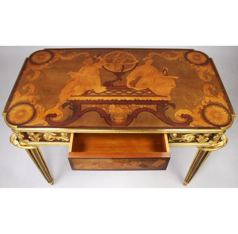 19th Century French Louis XVI Style Ormolu and Marquetry Table, Beurdeley Attributed For Sale