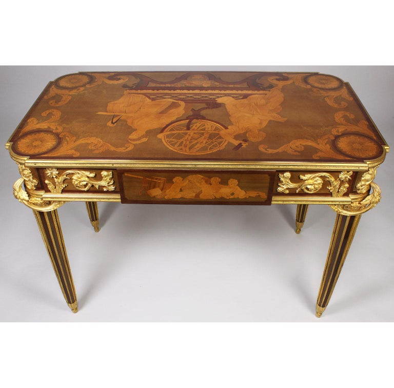Bronze French Louis XVI Style Ormolu and Marquetry Table, Beurdeley Attributed For Sale