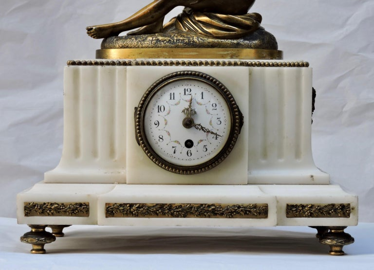 French 19th Century Marble and Ormolu Clock after Falconnet For Sale 3