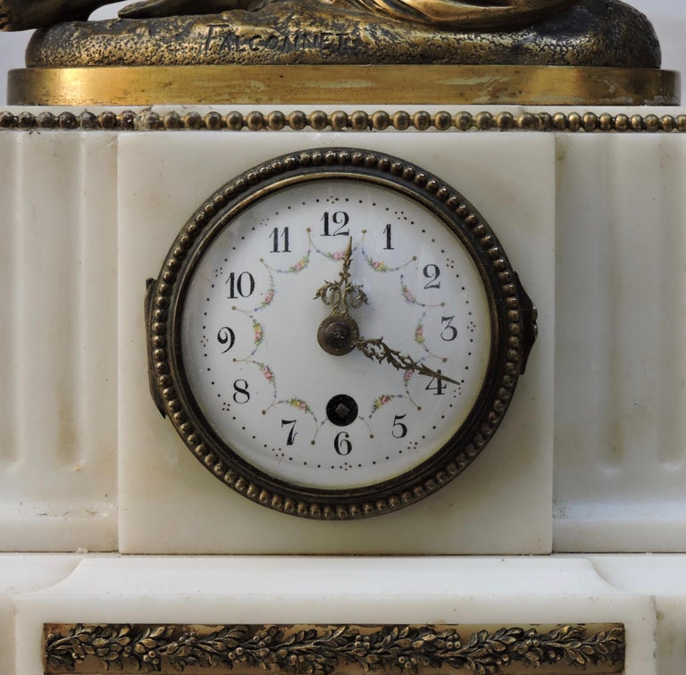 French 19th Century Marble and Ormolu Clock after Falconnet For Sale 4