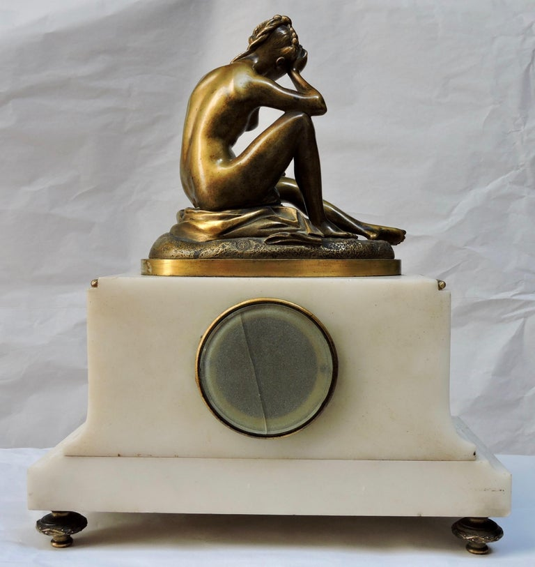 French 19th Century Marble and Ormolu Clock after Falconnet For Sale 6