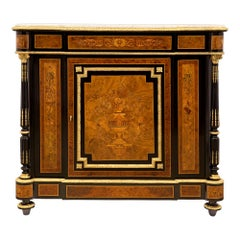 French 19th Century Napoleon III Period Exotic Wood, Ormolu and Marble Cabinet