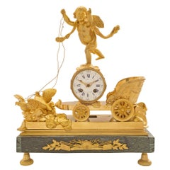French 19th Century Neo-Classical Empire St. Ormolu and Marble Clock