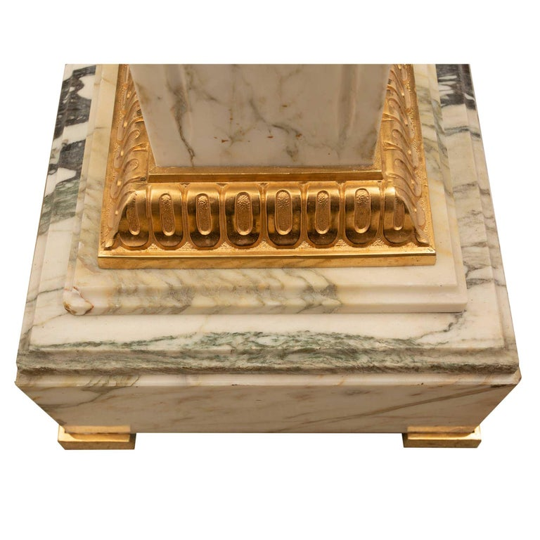 French 19th Century Neoclassical Style Marble and Ormolu Column For Sale 1